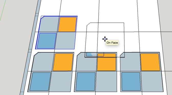 Sketchup Interface with plugin for RapID being used to create a Tic Tac Toe board.