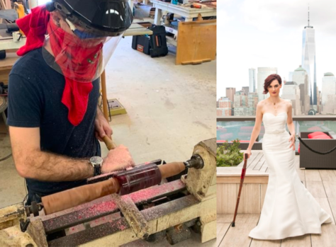 A picture of Megan in her wedding dress leaning on her cane with a river and skyscrapers in the background. A second picture shows her partner working on the cane while wearing a mask and a faceshield for protection.