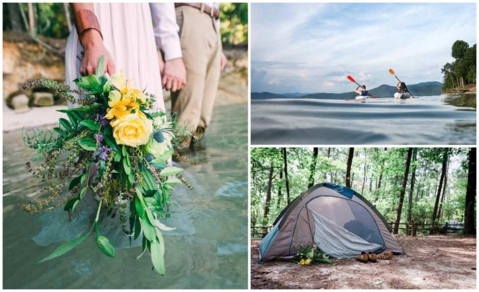 Unique lakeside camping wedding in Asheville