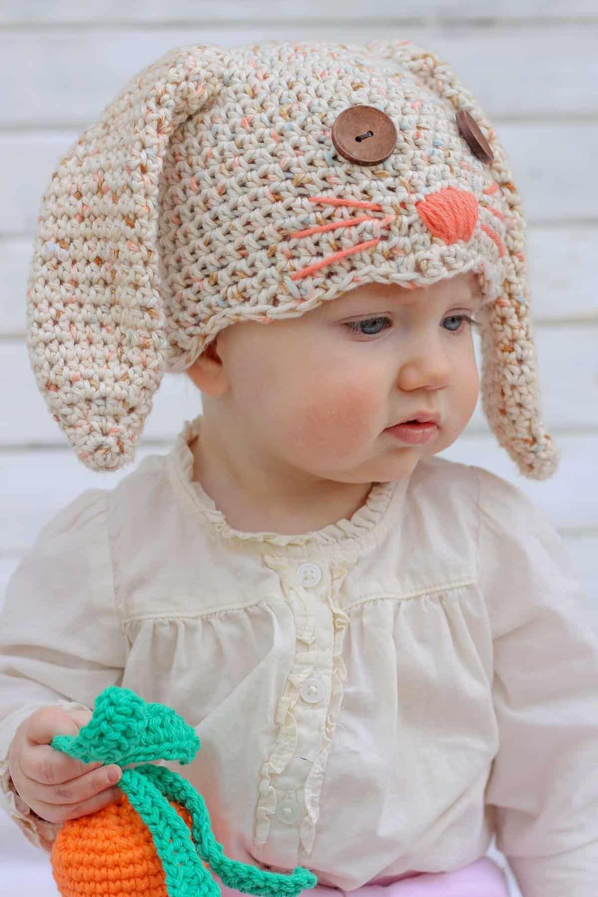 Free Crochet Bunny Hat Pattern Newborn Toddler Make