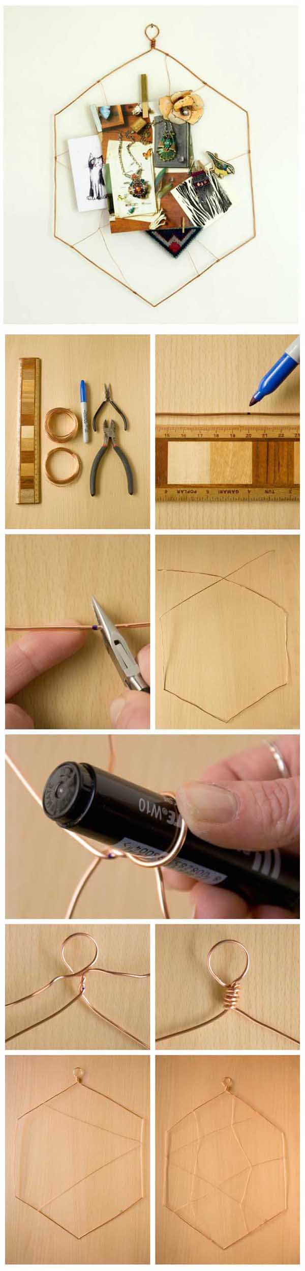 DIY copper wire hexagon notice board tutorial