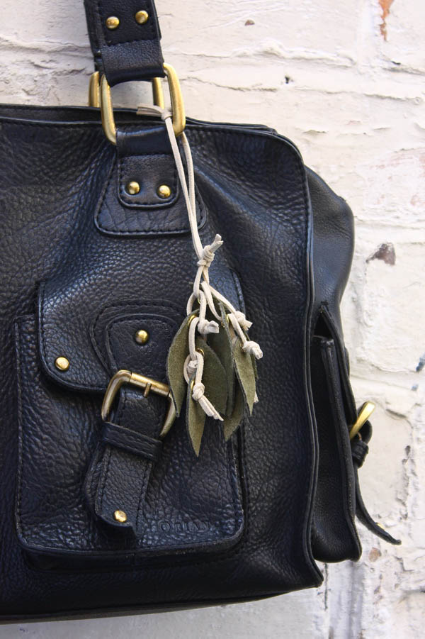 Autumn Leaf Leather Bag Charm
