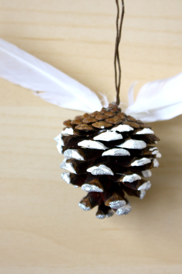Pine Cone and Feather Christmas Decorations