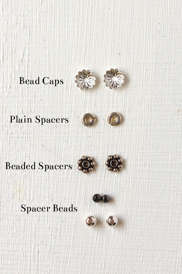 Whats are bead caps and spacers? Learn how to use decorative caps and spacer beads in your jewellery making.
