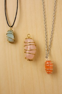 Wire Wrapped Stone - Spiral Cage Neckalce