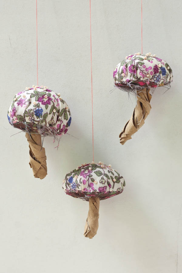 Fabric and bead toadstool decorations diy make and fable.