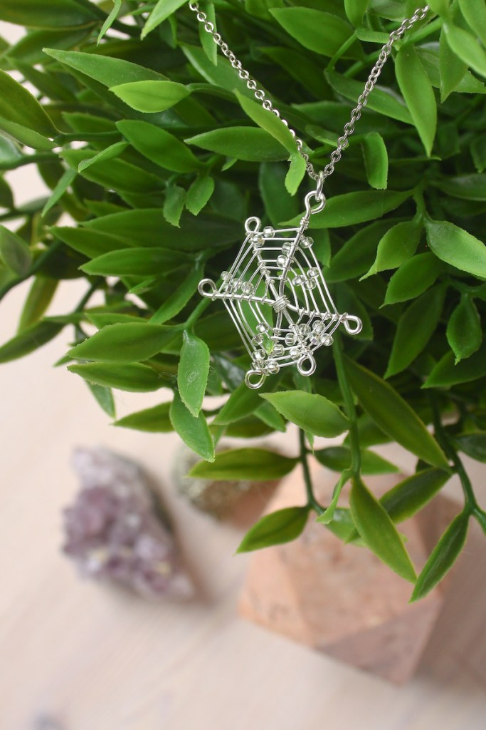 Wire Spider Web Necklace DIY Tutorial by Make and Fable