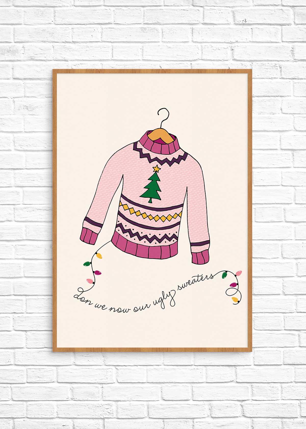 Ugly Christmas Sweater Printable Wall Art Make And Tell