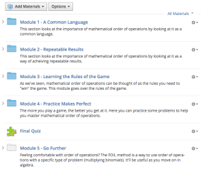 Screen Shot of Schoology course design