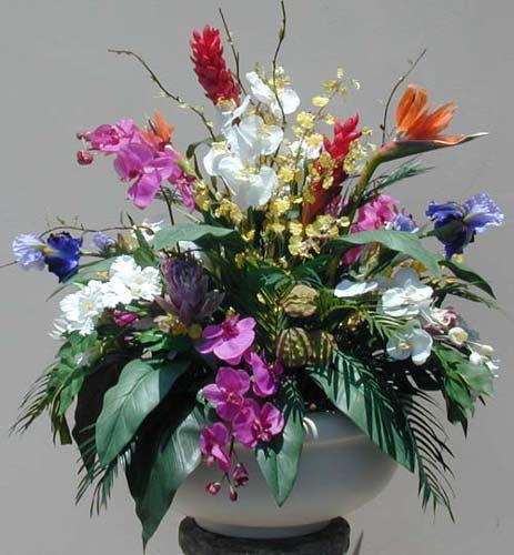 Silk Floral Arrangements Artificial Tropical Flowering Plants