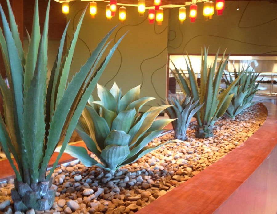 faux succulent plants in casino