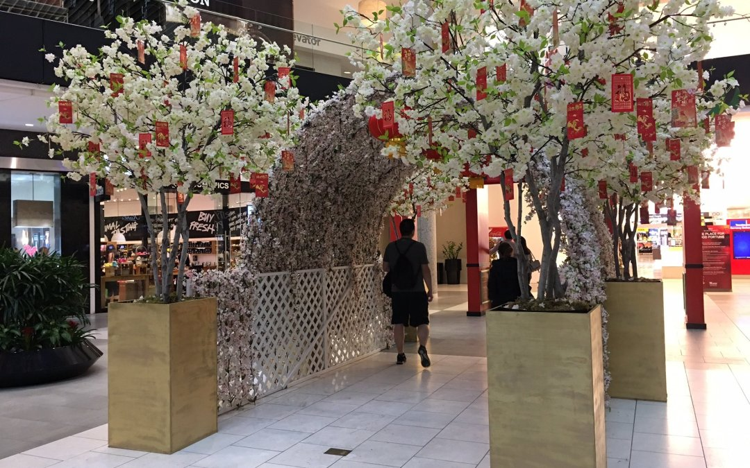 Blossoming Artificial Cherry Trees and Trellis Display