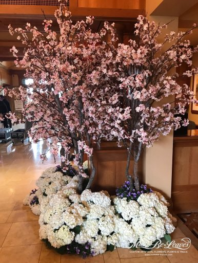 faux pink cherry blossom trees