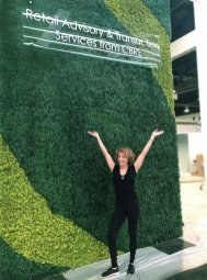 Susie Ameche, Founder Make Be-Leaves, LV artificial Green Wall