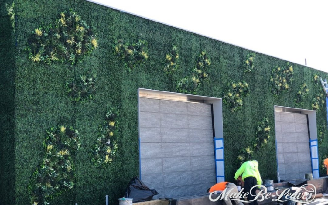 Organic Shaped, Fluid Design UV Artificial Green Wall, Alexander Court