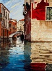 Ameche Canal Scene Venice Red