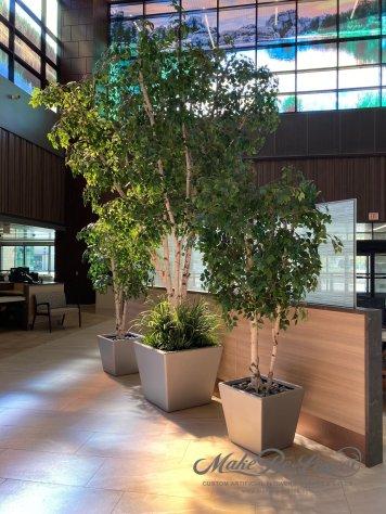 artificial trees in pots