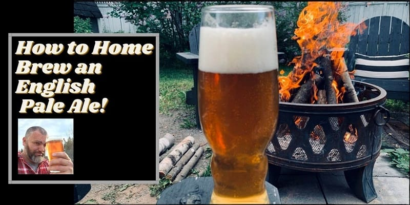 How to home brew an english pale ale written next to a glass of beer