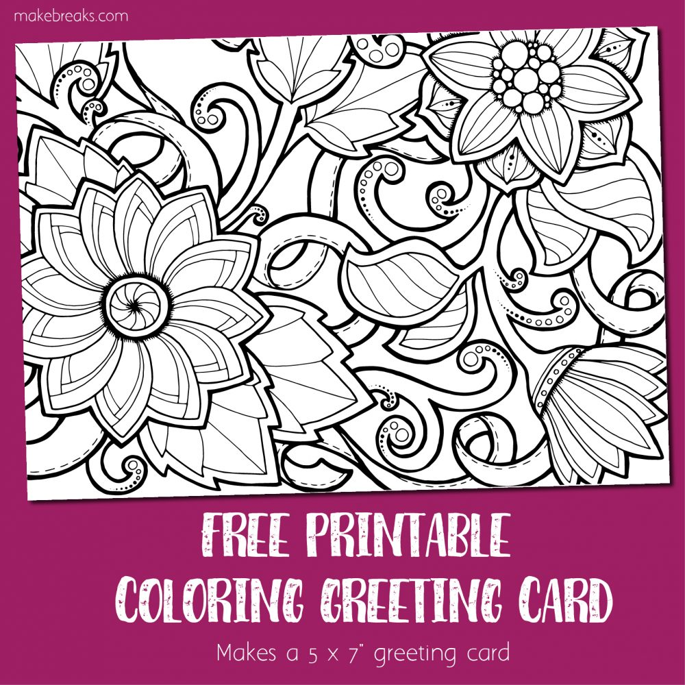 graphic relating to Printable Coloring Cards identified as Coloring Card 4 - Greeting Card toward Coloration (Bouquets) - Generate Breaks