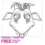 Funny Monster Head Free Digital Stamp