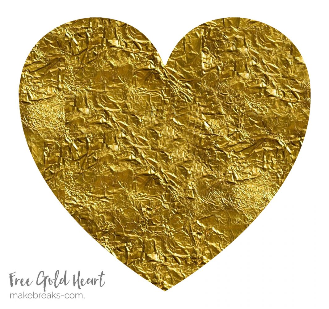 Free Gold Heart For Handmade Cards and Scrapbook Pages