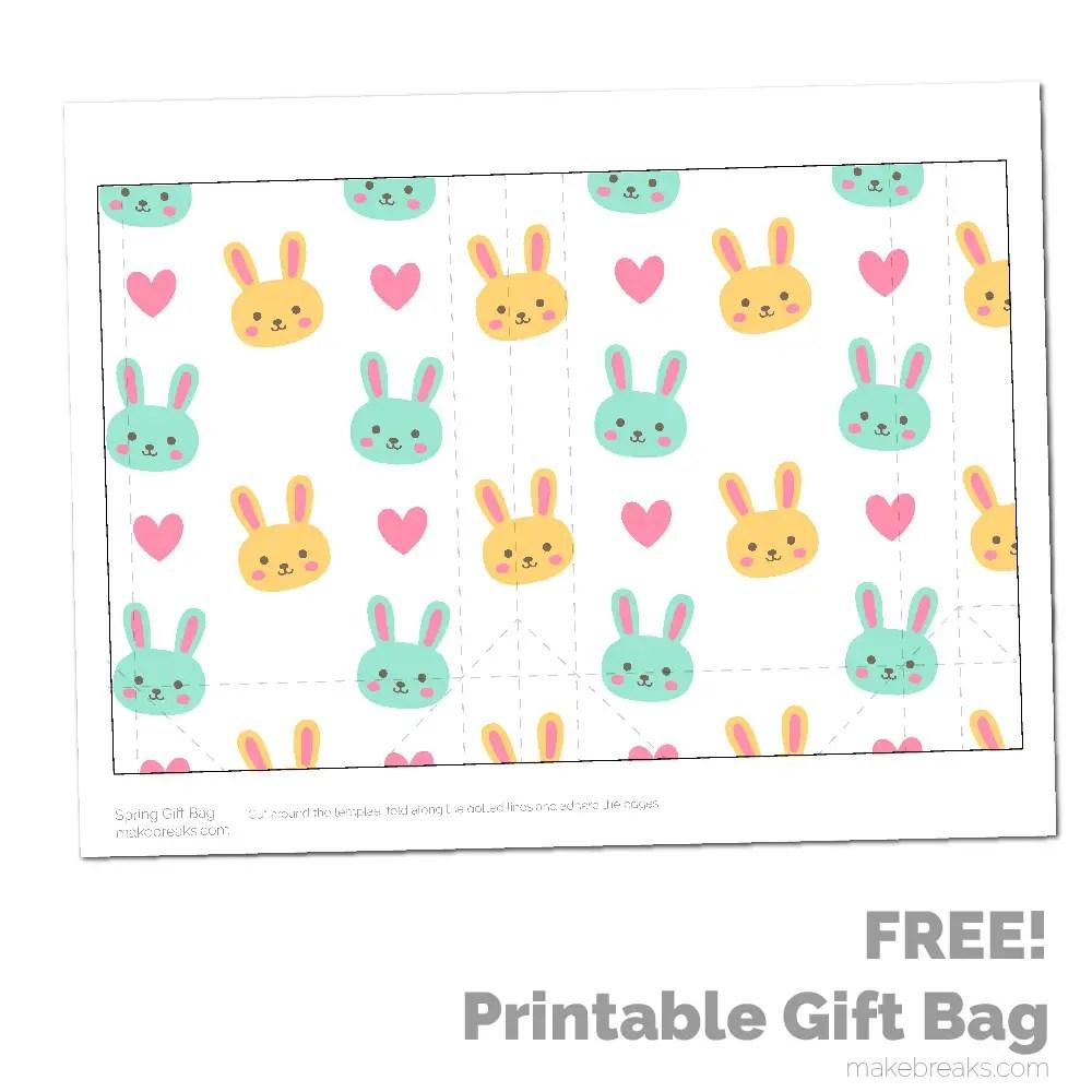 Spring Easter Printable Gift Bag – Yellow Bunny Pattern