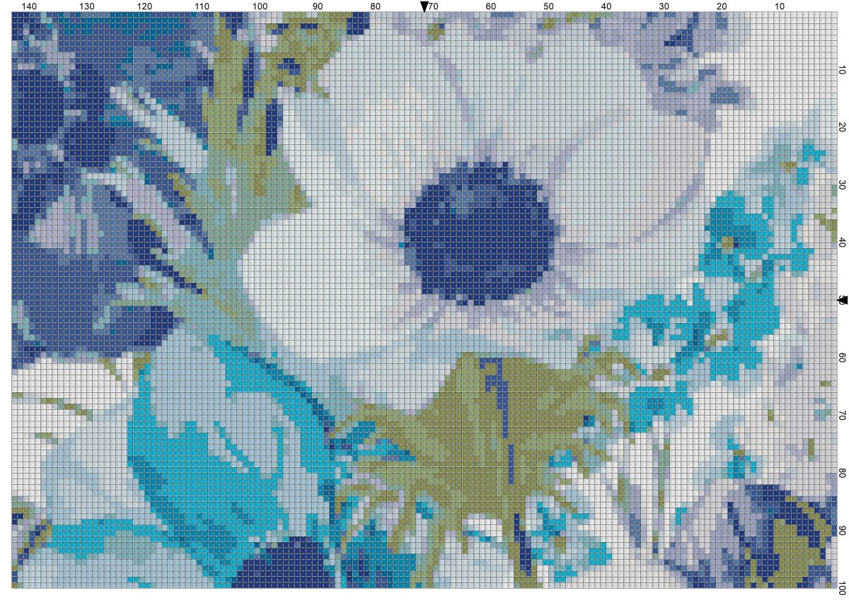 Free Cross Stitch Chart – Blue Flowers