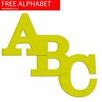 Lime Felt Effect Free Printable Alphabet