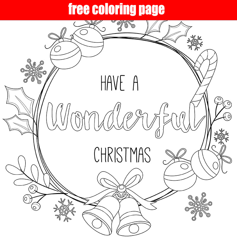 Merry Christmas Free Coloring Page