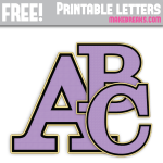 Purple Gold Edged Free Printable Alphabet