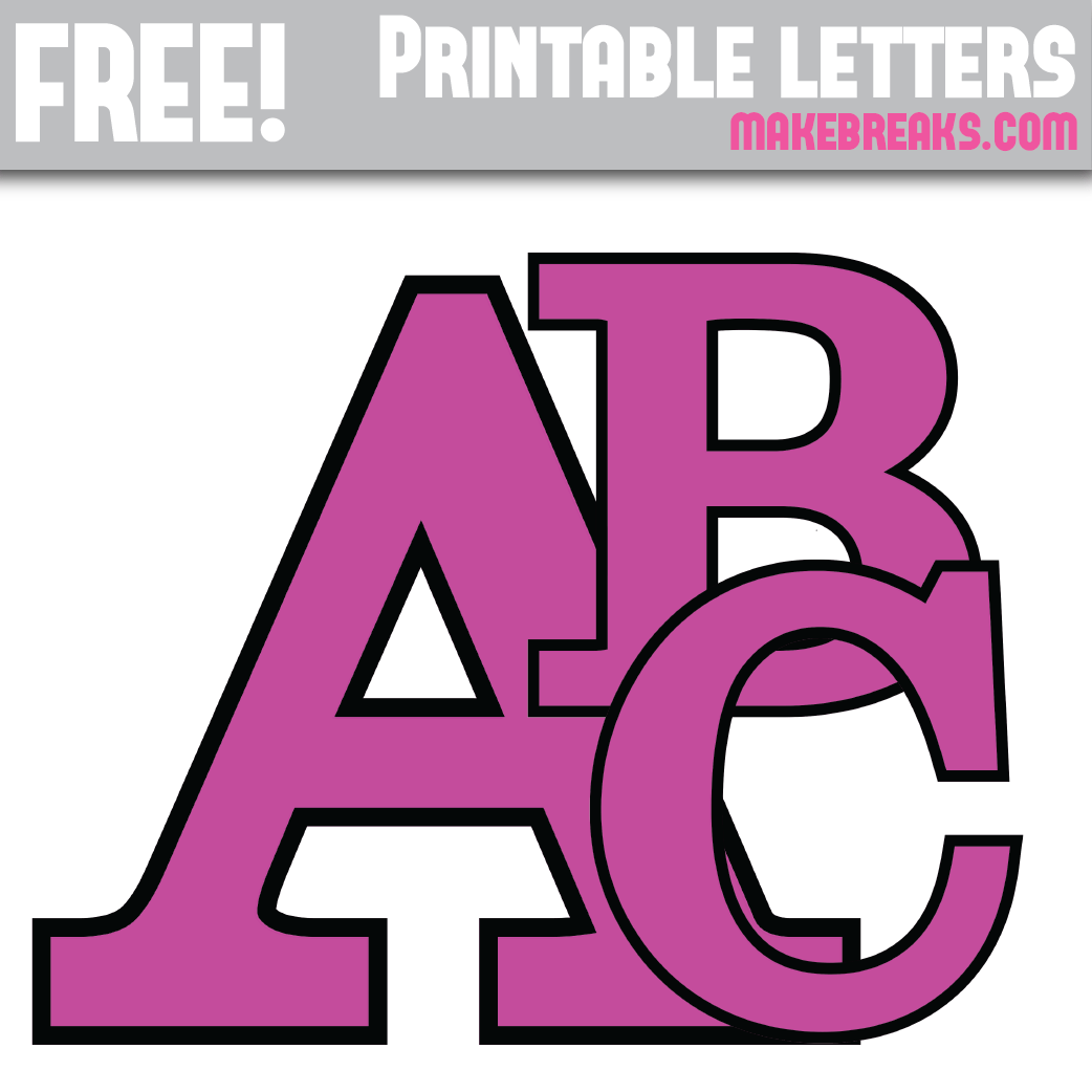 Purple With Black Edge Free Printable Alphabet - Make Breaks