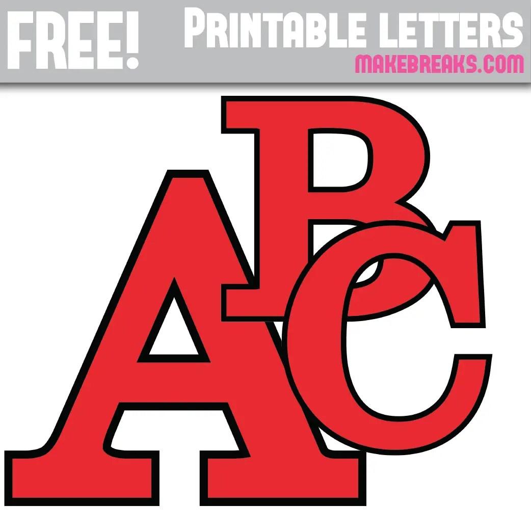 Red With Black Edge Free Printable Alphabet