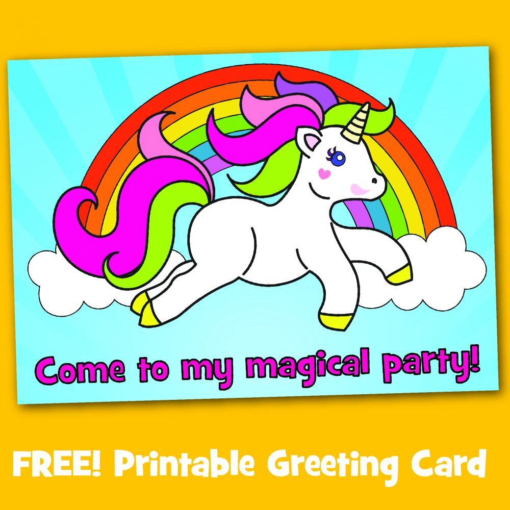 Free printable unicorn party invitation