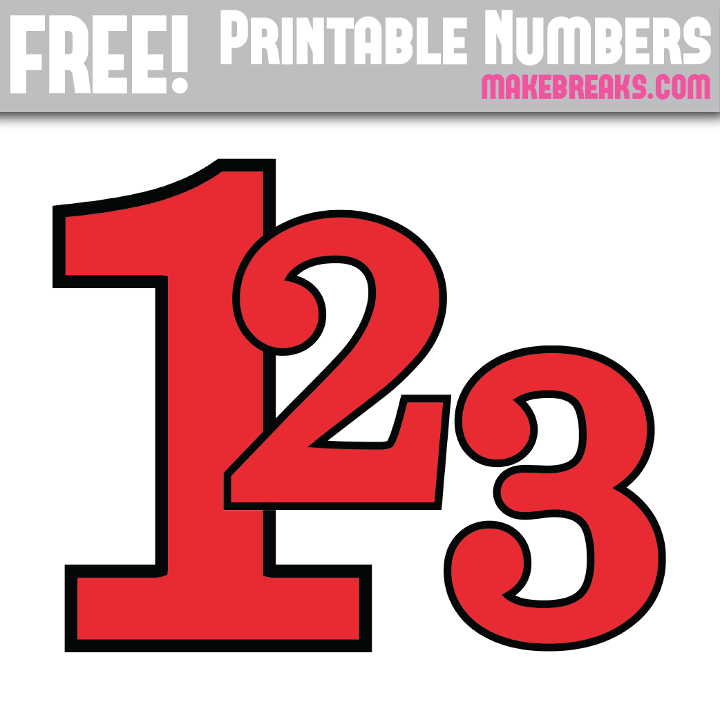 picture relating to Free Printable Numbers titled Crimson With Black Advantage Printable Figures 0 - 9 - Deliver Breaks