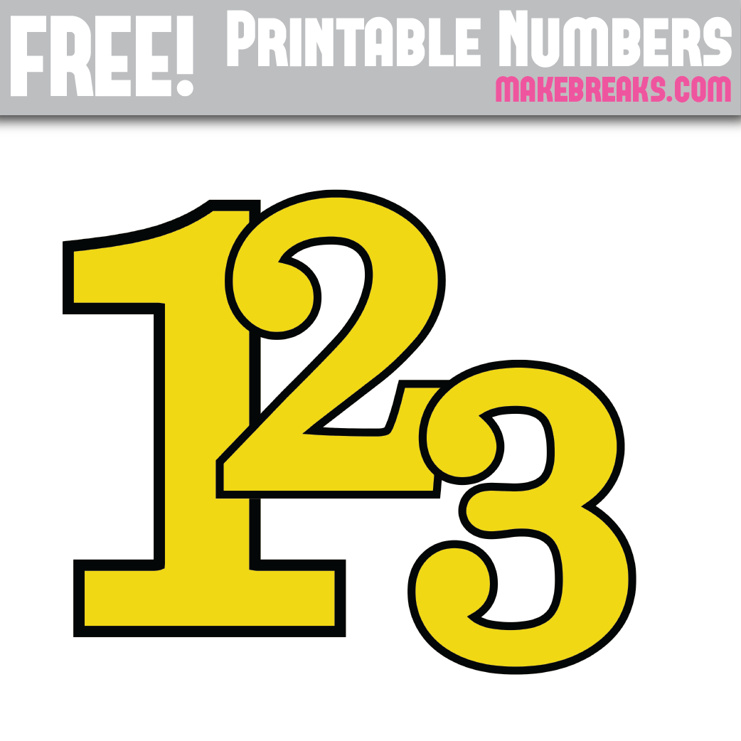 photograph about Printable Numbers 0 9 titled Yellow With Black Advantage Printable Quantities 0 - 9 - Deliver Breaks
