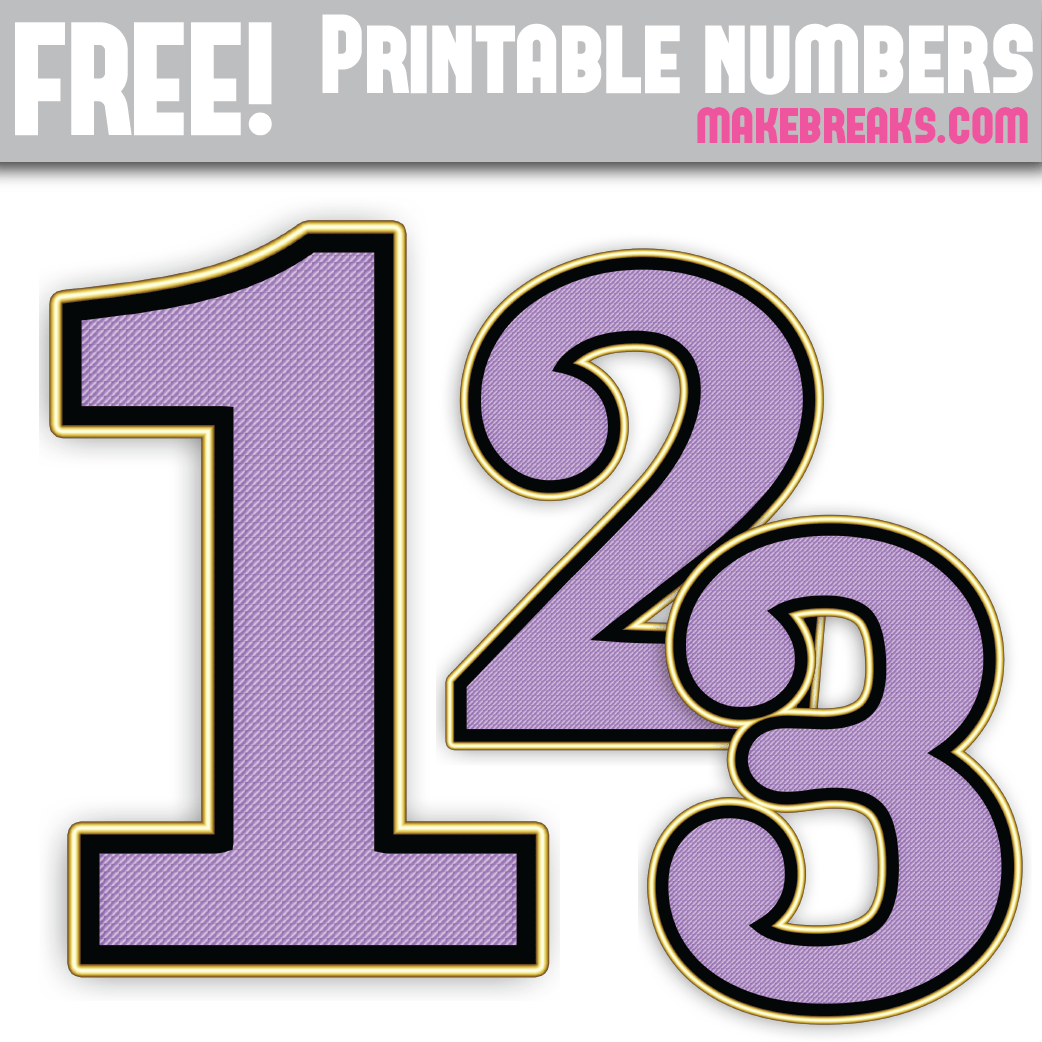 Purple and gold edged numbers