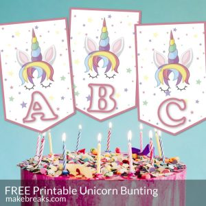 Unicorn Alphabet Bunting Template