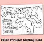 Free Printable Black & White Birthday Party Invitations To Color