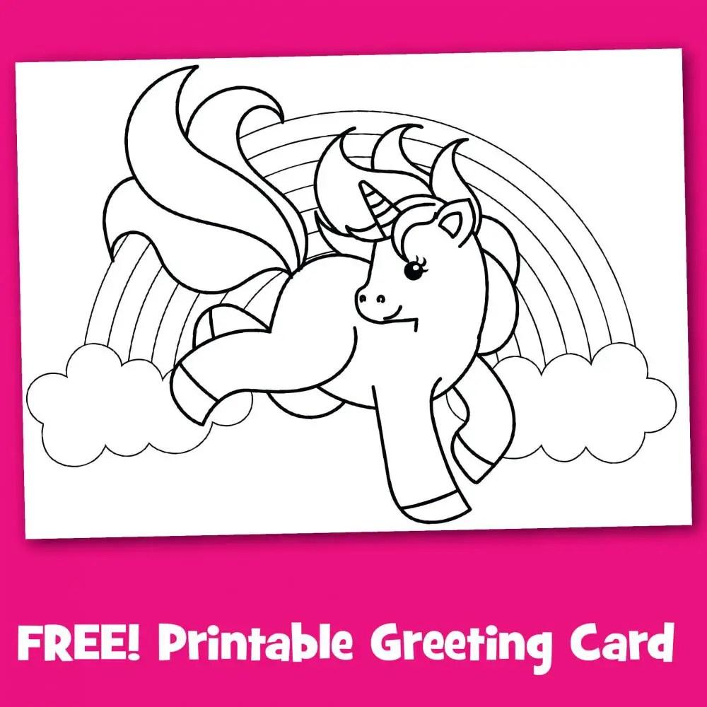Free Printable Unicorn Greeting Card To Color Make Breaks