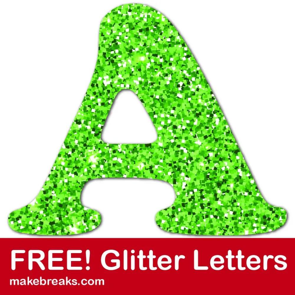 Free green glitter letters