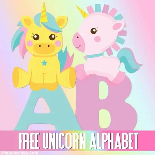 Free printable unicorn alphabet party printable