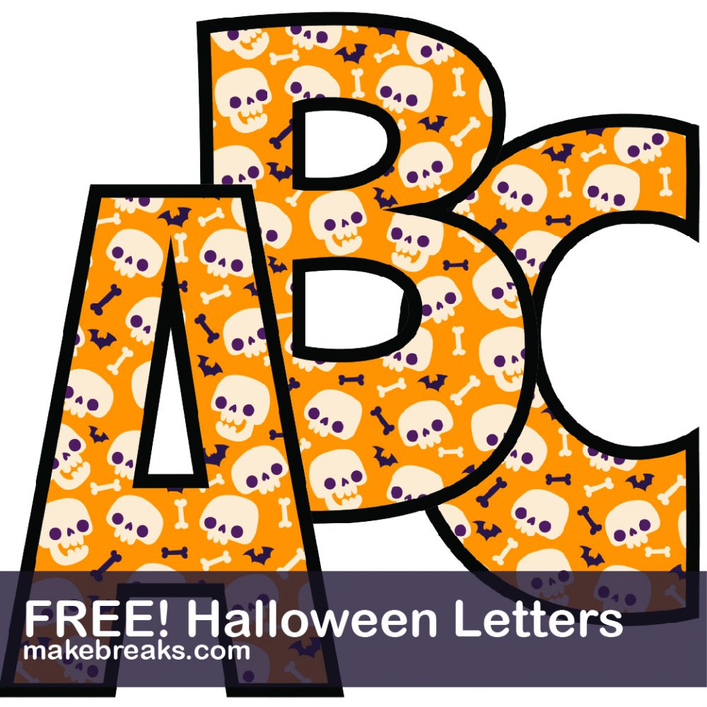 Halloween free printable alphabet orange cute skulls