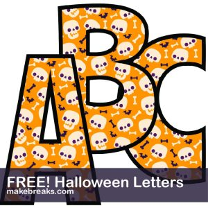 Halloween Free Printable Alphabet – Orange & Cute Skulls