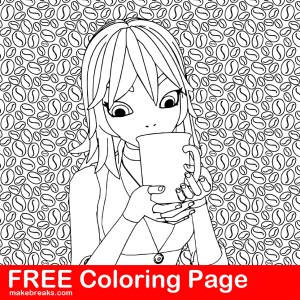 Coffee Lover's Free Coloring Page – Girl Drinking Coffee