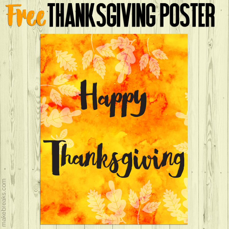 Yellow and orange Happy Thanksgiving printable poster