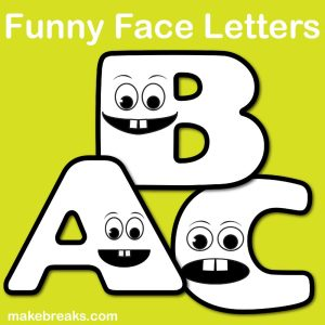 Free Funny Face Letters to Color