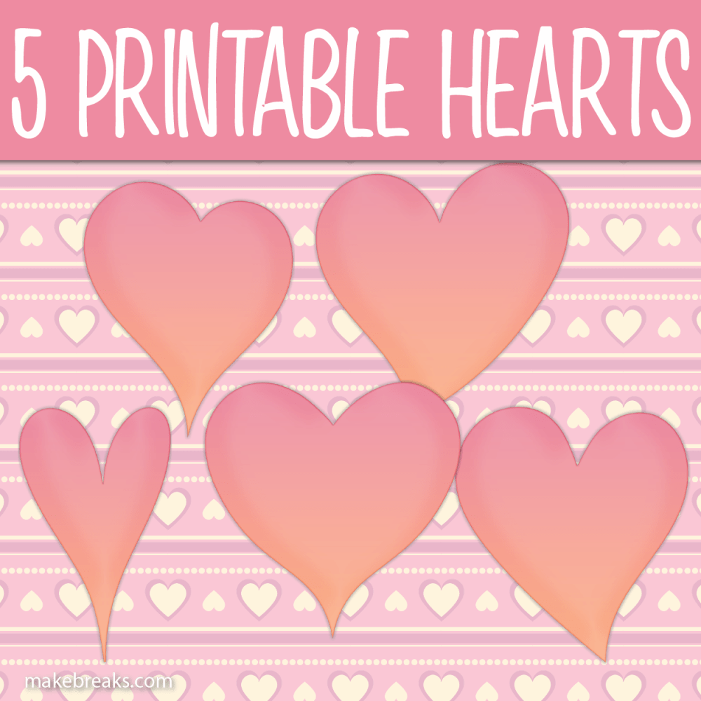 Five Free Printable Pink Heart Templates