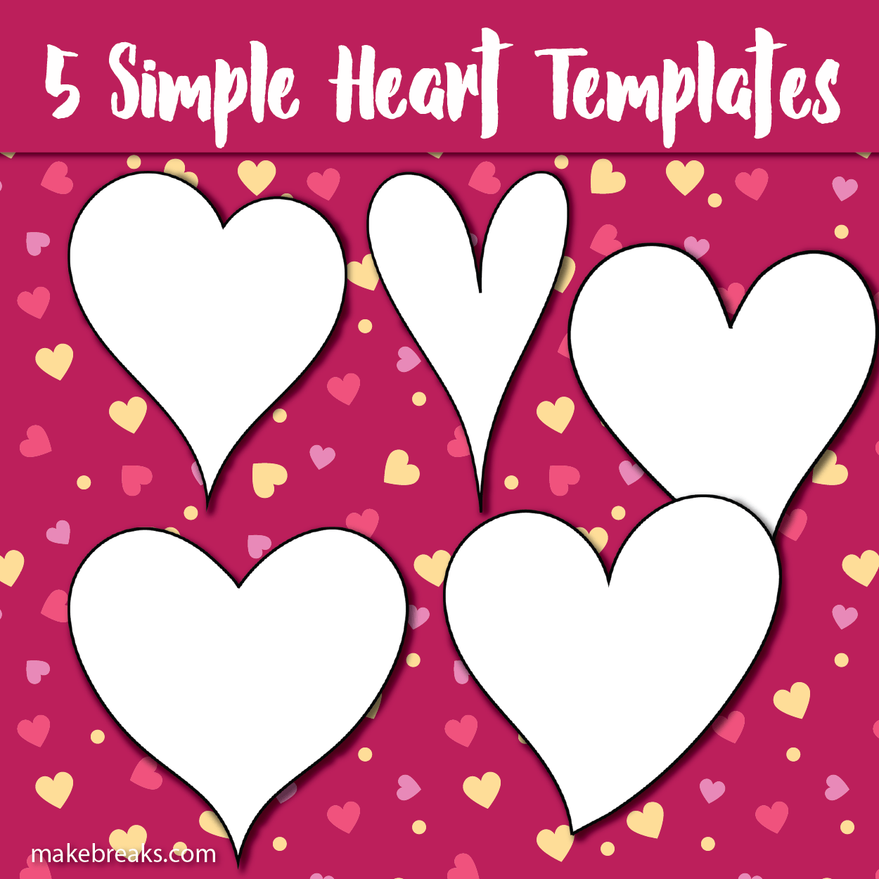 graphic about Free Printable Heart Template identify 5 Cost-free Printable Centre Templates - Create Breaks