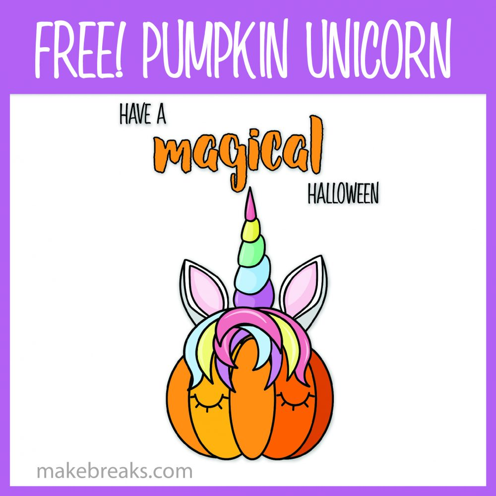 Free Unicorn Pumpkin Magical Halloween Printable Poster