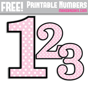 Pink Polkadot With Black Edge Printable Numbers 0 – 9